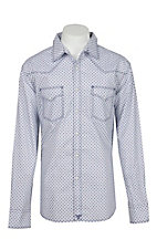 Wrangler 20X Competition Men's White & Navy Mini X Print Stretch L/S Western Snap Shirt