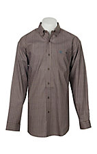 Wrangler 20X Competition Men's Brown w/ Triangle Print Stretch L/S Western Shirt