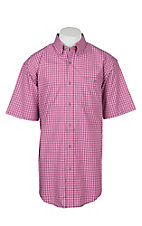 Wrangler 20X Competition Pink, White and Navy Checker Plaid Stretch Western S/S Shirt