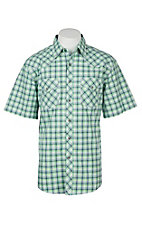 Wrangler 20X Competition Green, Grey & White Checker Plaid Stretch Western S/S Snap Shirt