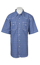 Wrangler 20X Competition Blue and White Checker Plaid Stretch Western S/S Snap Shirt