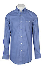 Wrangler 20X Competition Advanced Comfort Navy and White Mini Print L/S Western Shirt