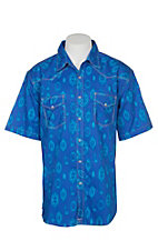 Wrangler 20X Competition Blue Aztec Comfort Western S/S Snap Shirt