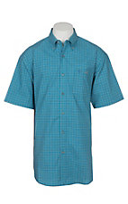 Wrangler 20X Competition Blue Mini Checker Stretch Western S/S Shirt