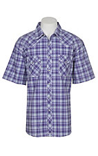 Wrangler 20X Competition Men's Purple Plaid Stretch S/S Western Snap Shirt