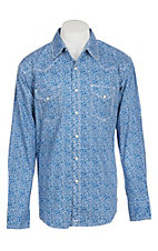 Wrangler 20X Competition Advanced Comfort Blue Paisley L/S Western Shirt