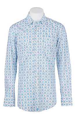 Wrangler 20X Competition Advanced Comfort Blue Print L/S Western Shirt