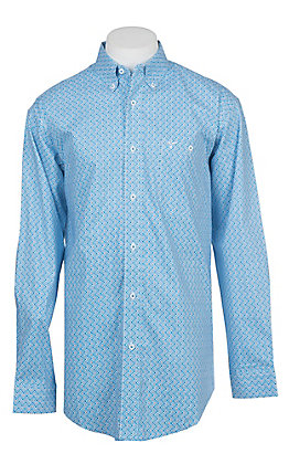 Wrangler 20X Competition Advanced Comfort Men's Blue Geo Print Long Sleeve Western Shirt