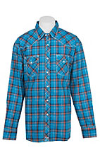 Wrangler 20X Competition Advanced Comfort Blue Plaid Print L/S Western Shirt