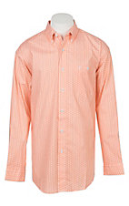 Wrangler 20X Competition Advanced Comfort Men's Orange Geo Print Long Sleeve Western Shirt
