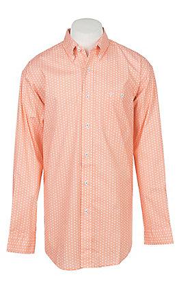 Wrangler 20X Competition Advanced Comfort Men's Orange Geo Print Long Sleeve Western Shirt