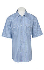 Wrangler 20X Competition Blue Geo Print Short Sleeve Stretch Western Snap Shirt