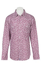 Wrangler 20X Men's Burgundy and White Paisley Long Sleeve Western Shirt