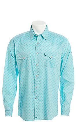 Wrangler 20X Men's Turquoise Swirl Long Sleeve Western Snap Shirt