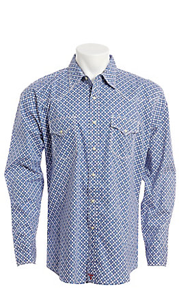 Wrangler 20X Men's White With Blue And Red Geo Print Long Sleeve Western Shirt