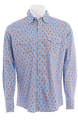 Wrangler 20X Men's Competition Advanced Comfort Blue Aztec Print Long Sleeve Western Shirt