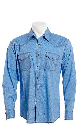 Wrangler 20X Men's Blue Paisley Long Sleeve Western Snap Shirt