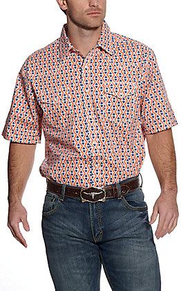 Wrangler 20X Men's Orange Aztec Print Short Sleeve Western Shirt