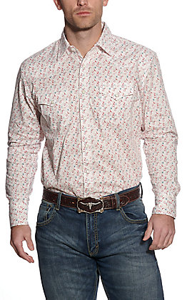 Wrangler 20X Men's White Multi Circle Print Long Sleeve Western Shirt