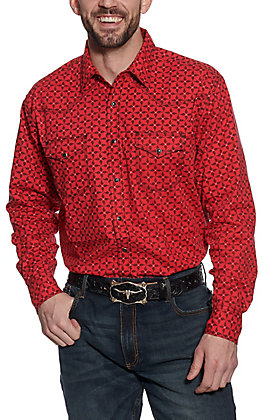 Wrangler 20X Men's Red and Black Paisley Long Sleeve Western Shirt