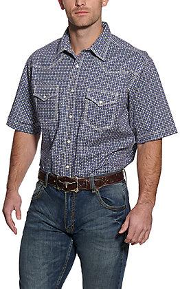 Wrangler 20X Men's Navy Circle Print Short Sleeve Western Shirt