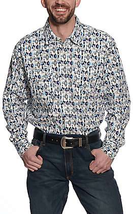 Wrangler 20X Men's White Aztec Print Long Sleeve Western Shirt