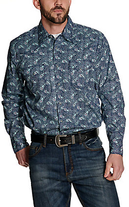 Wrangler 20X Men's Navy with Turquoise and Pink Paisley Print Long Sleeve Western Shirt