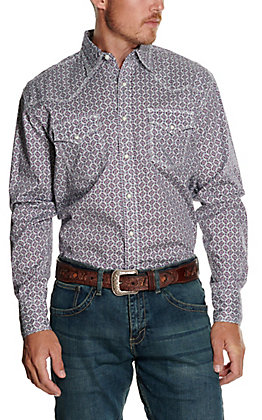 Wrangler 20X Men's White with Purple and Turquoise Geo Print Long Sleeve Western Shirt