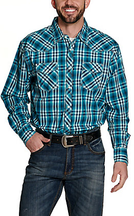 Wrangler 20X Men's Turquoise and Navy Plaid Long Sleeve Western Shirt