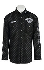 Wrangler Men's Black Print with Logo Embroidery Long Sleeve Western Shirt MJD144M