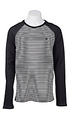 Hurley Men's Black and White Striped Long Sleeve T-Shirt - Reversible