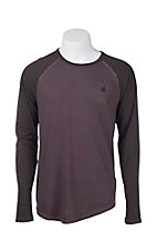 Hurley Men's Mahogany Yesterday Raglan Long Sleeve T-Shirt