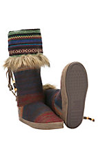 Muk Luks Serape Collection Women's Maribelle Multicolor Mayan Blanket Boot Slippers