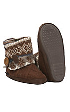 Muk Luks Sleigh Ride Collection Women's Patti Brown Knit Boot Slippers