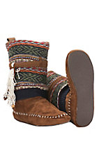 Muk Luks Americana Collection Women's Ricki Tan with Multicolor Southwest Top Boot Slippers