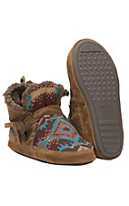 XAN Muk Luks Americana Collection Women's Wendy Multicolor Southwest with Tan Suede Boot Slippers