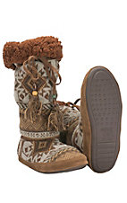 Muk Luks Safari Collection Women's Grace Copper & Tan Southwest Boot Slippers
