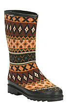 Muk Luks Multi Southwest Strip Anabelle Gold/Black Rain boot