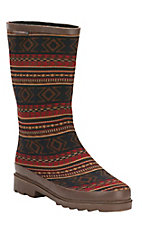 Muk Luks Multi Southwest Strip Anabelle Red/Cognac Rain boot