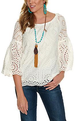 Magnolia Lane Women's White Eyelet Bell Sleeve Fashion Top