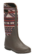Muk Luks Southwest Strip Dark Brown/Red Muck Rain boot