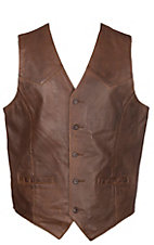Cripple Creek Men's Vintage Brown Button Lamb Vest