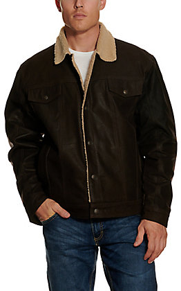 Cripple Creek Men's Brown Sherpa-Lined Distressed Leather Concealed Carry Jacket