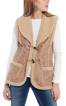 Magnolia Lane Women's Tan with Shearling Toggle Vest