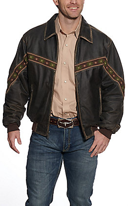 Cripple Creek Men's Distressed Brown Leather Concealed Carry Jacket