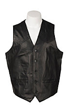 Cripple Creek Men's Black Genuine Leather Vest