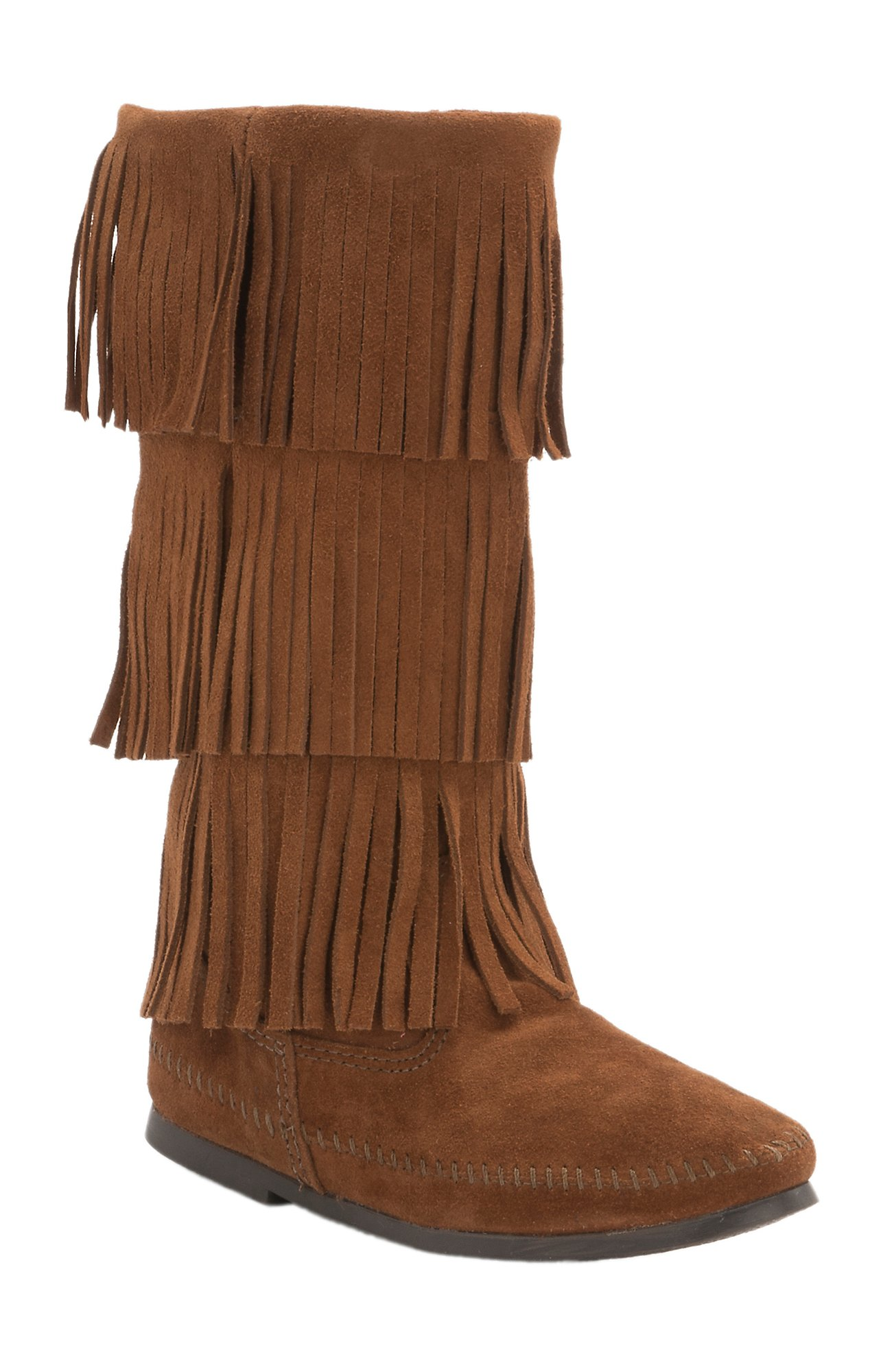 Minnetonka Ladies Rust Brown Suede 3 Layer Fringe Boots | Cavender's