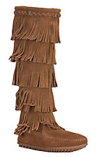 Minnetonka Ladies Rust Brown Suede 5 Layer Fringe Boots