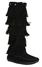 Minnetonka Ladies Black Suede 5 Layer Fringe Boots