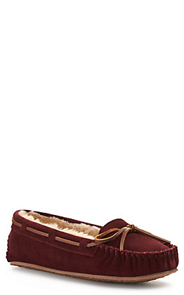 Minnetonka Women's Cally Maroon with Pile Lining Moccasin Slipper